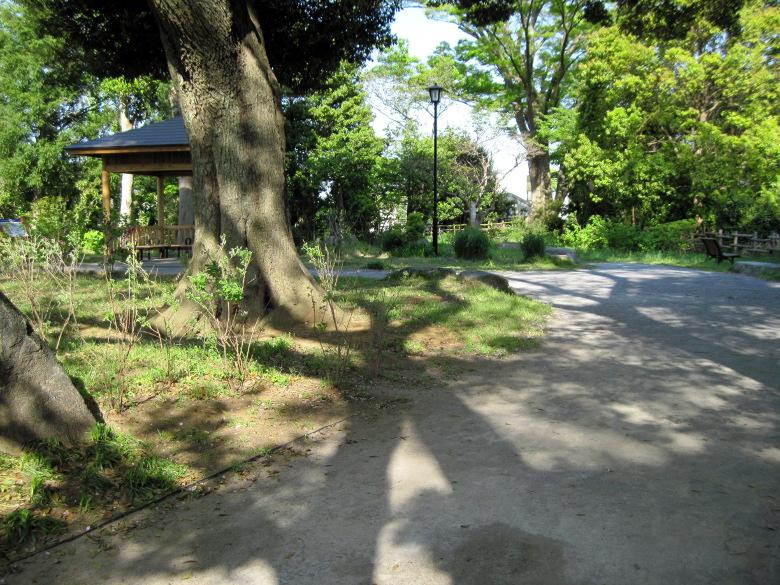 緑地に東屋がある嘉納治五郎の別荘跡