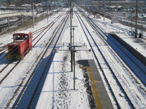 竜王駅から甲府方面を見たときの眺め