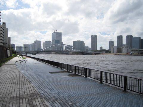 勝鬨橋付近から築地大橋を望む