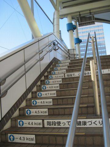 消費カロリーが書いてある田町駅の階段