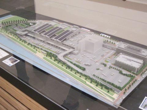 水産卸売場棟の建築模型